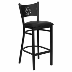 HERCULES Series Black Coffee Back Metal Restaurant Bar Stool - Black Vinyl Seat - XU-DG-60114-COF-BAR-BLKV-GG