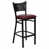 HERCULES Series Black Coffee Back Metal Restaurant Bar Stool - Burgundy Vinyl Seat - XU-DG-60114-COF-BAR-BURV-GG