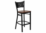 HERCULES Series Black Coffee Back Metal Restaurant Bar Stool - Cherry Wood Seat - XU-DG-60114-COF-BAR-CHYW-GG