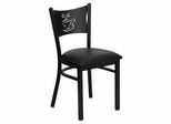 HERCULES Series Black Coffee Back Metal Restaurant Chair - Black Vinyl Seat - XU-DG-60099-COF-BLKV-GG
