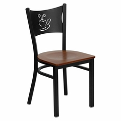HERCULES Series Black Coffee Back Metal Restaurant Chair - Cherry Wood Seat - XU-DG-60099-COF-CHYW-GG