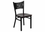 HERCULES Series Black Coffee Back Metal Restaurant Chair - Mahogany Wood Seat - XU-DG-60099-COF-MAHW-GG