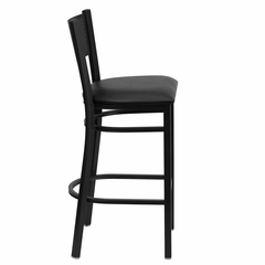 HERCULES Series Black Grid Back Metal Restaurant Bar Stool - Black Vinyl Seat - XU-DG-60116-GRD-BAR-BLKV-GG