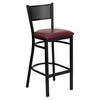 HERCULES Series Black Grid Back Metal Restaurant Bar Stool - Burgundy Vinyl Seat - XU-DG-60116-GRD-BAR-BURV-GG