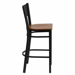 HERCULES Series Black Grid Back Metal Restaurant Bar Stool - Cherry Wood Seat - XU-DG-60116-GRD-BAR-CHYW-GG