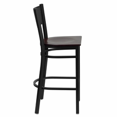 HERCULES Series Black Grid Back Metal Restaurant Bar Stool - Mahogany Wood Seat - XU-DG-60116-GRD-BAR-MAHW-GG