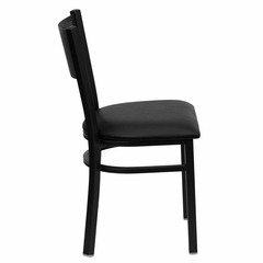 HERCULES Series Black Grid Back Metal Restaurant Chair - Black Vinyl Seat - XU-DG-60115-GRD-BLKV-GG