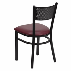 HERCULES Series Black Grid Back Metal Restaurant Chair - Burgundy Vinyl Seat - XU-DG-60115-GRD-BURV-GG