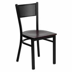 HERCULES Series Black Grid Back Metal Restaurant Chair - Mahogany Wood Seat - XU-DG-60115-GRD-MAHW-GG