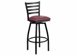HERCULES Series Black Ladder Back Swivel Metal Bar Stool - Burgundy Vinyl Seat  - XU-6F8B-LADSWVL-BURV-GG