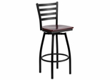 HERCULES Series Black Ladder Back Swivel Metal Bar Stool - Mahogany Wood Seat  - XU-6F8B-LADSWVL-MAHW-GG