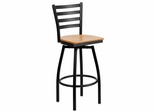 HERCULES Series Black Ladder Back Swivel Metal Bar Stool - Natural Wood Seat  - XU-6F8B-LADSWVL-NATW-GG