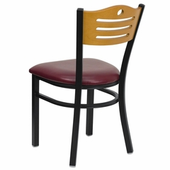 HERCULES Series Black Slat Back Metal Restaurant Chair - Natural Wood Back, Burgundy Vinyl Seat - XU-DG-6G7B-SLAT-BURV-GG