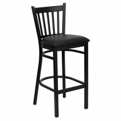 HERCULES Series Black Vertical Back Metal Restaurant Bar Stool - Black Vinyl Seat - XU-DG-6R6B-VRT-BAR-BLKV-GG