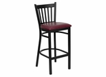 HERCULES Series Black Vertical Back Metal Restaurant Bar Stool - Burgundy Vinyl Seat - XU-DG-6R6B-VRT-BAR-BURV-GG