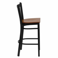 HERCULES Series Black Vertical Back Metal Restaurant Bar Stool - Cherry Wood Seat - XU-DG-6R6B-VRT-BAR-CHYW-GG