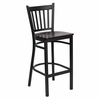 HERCULES Series Black Vertical Back Metal Restaurant Bar Stool - Mahogany Wood Seat - XU-DG-6R6B-VRT-BAR-MAHW-GG
