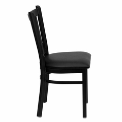 HERCULES Series Black Vertical Back Metal Restaurant Chair - Black Vinyl Seat - XU-DG-6Q2B-VRT-BLKV-GG
