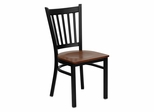 HERCULES Series Black Vertical Back Metal Restaurant Chair - Cherry Wood Seat - XU-DG-6Q2B-VRT-CHYW-GG