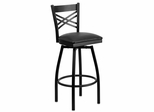 HERCULES Series Black ''X'' Back Swivel Metal Bar Stool - Black Vinyl Seat  - XU-6F8B-XSWVL-BLKV-GG