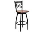 HERCULES Series Black ''X'' Back Swivel Metal Bar Stool - Cherry Wood Seat  - XU-6F8B-XSWVL-CHYW-GG