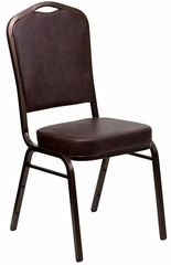HERCULES Series Crown Back Brown Vinyl Stacking Banquet Chair - FD-C01-COPPER-BRN-VY-GG