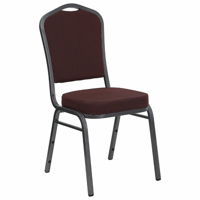 HERCULES Series Crown Back Stacking Banquet Chair with Burgundy Patterned Fabric and Silver Vein Frame Finish - HF-C01-T18-BG-SV-GG