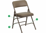 HERCULES Series Curved Triple Braced & Quad Hinged Beige Vinyl Upholstered Metal Folding Chair  - HA-MC309AV-BGE-GG