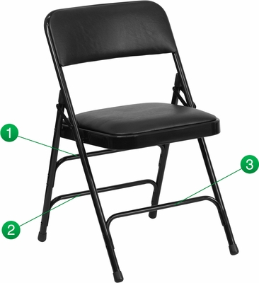 HERCULES Series Curved Triple Braced & Quad Hinged Black Vinyl Upholstered Metal Folding Chair  - HA-MC309AV-BK-GG