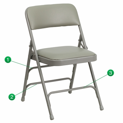 HERCULES Series Curved Triple Braced & Quad Hinged Gray Vinyl Upholstered Metal Folding Chair  - HA-MC309AV-GY-GG