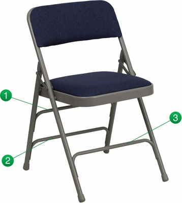 HERCULES Series Curved Triple Braced & Quad Hinged Navy Fabric Upholstered Metal Folding Chair  - HA-MC309AF-NVY-GG