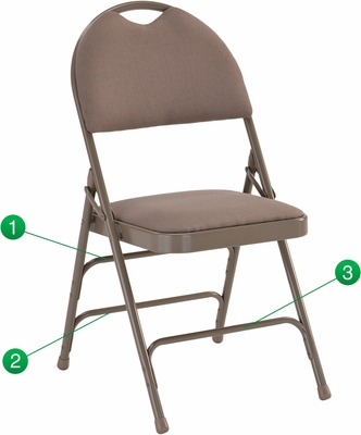 HERCULES Series Extra Large Ultra-Premium Triple Braced Beige Fabric Metal Folding Chair - HA-MC705AF-3-BGE-GG