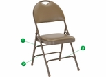 HERCULES Series Extra Large Ultra-Premium Triple Braced Beige Vinyl Metal Folding Chair - HA-MC705AV-3-BGE-GG