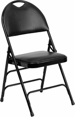 HERCULES Series Extra Large Ultra-Premium Triple Braced Black Vinyl Metal Folding Chair - HA-MC705AV-3-BK-GG