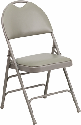 HERCULES Series Extra Large Ultra-Premium Triple Braced Gray Vinyl Metal Folding Chair - HA-MC705AV-3-GY-GG