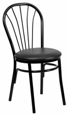 HERCULES Series Fan Back Metal Chair - Black Vinyl Seat - XU-698B-BLKV-GG