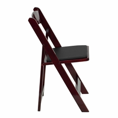 HERCULES Series Mahogany Wood Folding Chair - Padded Vinyl Seat - XF-2903-MAH-WOOD-GG