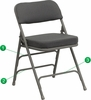 HERCULES Series Premium Curved Triple Braced & Quad Hinged Metal Folding Chair  - HA-MC320AF-GRY-GG