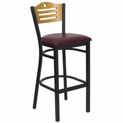 HERCULES Slat Back Black Metal Bar Stool with Burgundy Vinyl Seat and Natural Wood Back - XU-DG-6H3B-SLAT-BAR-BURV-GG