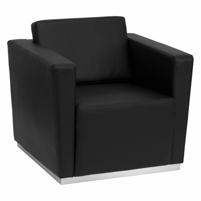 HERCULES Trinity Series Contemporary Black Leather Chair with Stainless Steel Base - ZB-TRINITY-8094-CHAIR-BK-GG