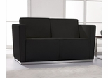 HERCULES Trinity Series Contemporary Black Leather Love Seat with Stainless Steel Base - ZB-TRINITY-8094-LS-BK-GG