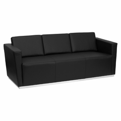 HERCULES Trinity Series Contemporary Black Leather Sofa with Stainless Steel Base - ZB-TRINITY-8094-SOFA-BK-GG