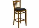 HERCULES Vertical Slat Back Cherry Wood Bar Stool with Black Vinyl Seat - XU-DGW0008BARVRT-CHY-BLKV-GG