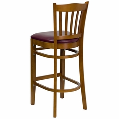 HERCULES Vertical Slat Back Cherry Wood Bar Stool with Burgundy Vinyl Seat - XU-DGW0008BARVRT-CHY-BURV-GG