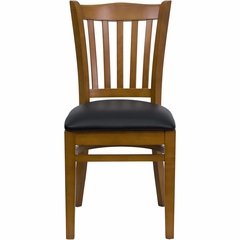 HERCULES Vertical Slat Back Cherry Wood Chair with Black Vinyl Seat - XU-DGW0008VRT-CHY-BLKV-GG