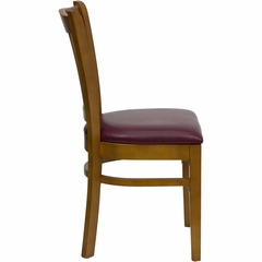 HERCULES Vertical Slat Back Cherry Wood Chair with Burgundy Vinyl Seat - XU-DGW0008VRT-CHY-BURV-GG