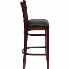 HERCULES Vertical Slat Back Mahogany Wood Bar Stool with Black Vinyl Seat - XU-DGW0008BARVRT-MAH-BLKV-GG