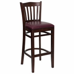 HERCULES Vertical Slat Back Mahogany Wood Bar Stool with Burgundy Vinyl Seat - XU-DGW0008BARVRT-MAH-BURV-GG