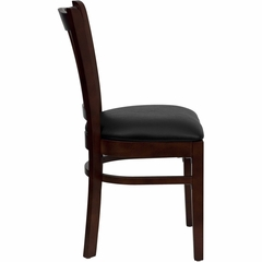 HERCULES Vertical Slat Back Mahogany Wood Chair with Black Vinyl Seat - XU-DGW0008VRT-MAH-BLKV-GG