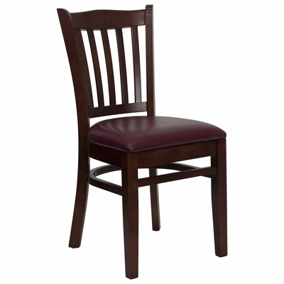 HERCULES Vertical Slat Back Mahogany Wood Chair with Burgundy Vinyl Seat - XU-DGW0008VRT-MAH-BURV-GG